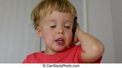 beweeglijk, jongen, spelend, baby, telefoon