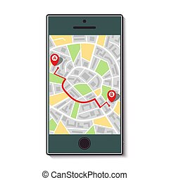 beweeglijk, kaart, route, telefoon, stad