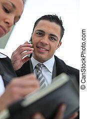 beweeglijk, klesten, zijn, zakenman, telefoon