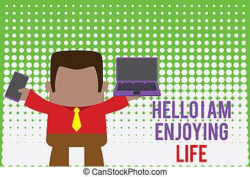 beweeglijk, links, man, spullen, foto, ontspannen, aantekening, vasthouden, right., hallo, telefoon, zakenvakman, het tonen, draagbare computer, schrijvende , genieten, life., vrolijke , het genieten van, levensstijl, eenvoudig, showcasing