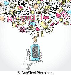 beweeglijk, media, smartphone, sociaal, toepassingen