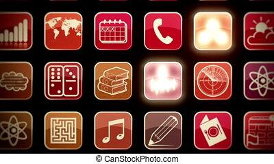 beweeglijk, muur, apps, zom uit in
