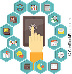 beweeglijk, ontwikkeling, apps, tablet
