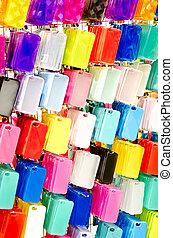 beweeglijk, plastic, telefoon, veelkleurig, gevallen,...