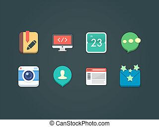 beweeglijk, plat, iconen, vector, web