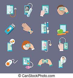 beweeglijk, plat, set, gezondheid, iconen