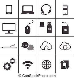 beweeglijk, set, netwerk, pictogram