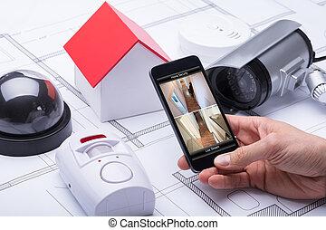 beweeglijk, systeem, telefoon, architect, thuis, gebruik, veiligheid