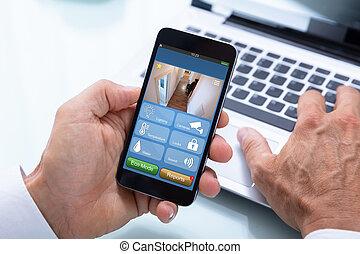 beweeglijk, systeem, telefoon, zakenman, thuis, gebruik, veiligheid