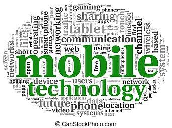 beweeglijk, technologie, concept, label, wolk