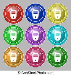 beweeglijk, telecommunicaties, technologie, symbool., symbool, op, negen, ronde, kleurrijke, buttons., vector