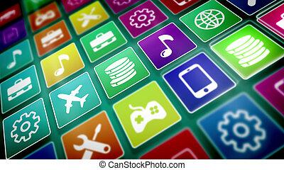 beweeglijk, toepassing, iconen, askew, gepresenteerd
