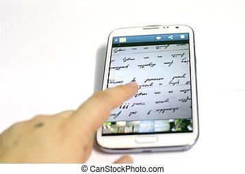 beweeglijk, witte , smartphone, vinger, hand