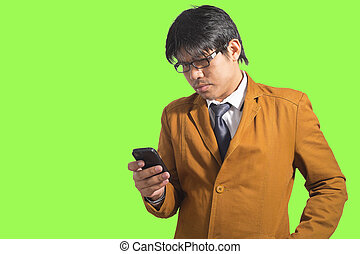 beweeglijk, writting, sms, jonge, telefoon., man, mooi