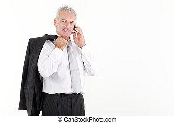 beweeglijk, zakenman, volwassene, klesten