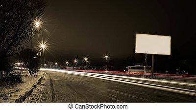 bewegen, auto, mit, licht, durch, stadt, nacht