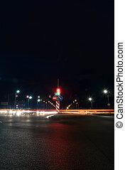 bewegen, auto, mit, verwischen, licht, durch, stadt, nacht