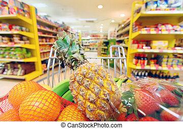 bewegen, einkaufswagen, in, supermarket., ihm, euch,...
