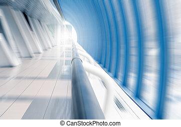 bewegen, in, a, langer, korridor, in, airp