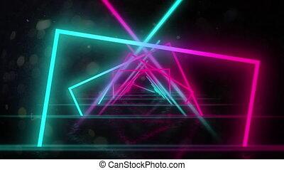 bewegen, multi, geometrisch, schwarz, glühen, animation ...