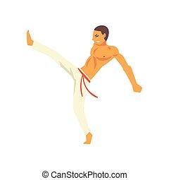 beweging, beoefenen, gighter, nationale, vecht, karakter, jonge, illustratie, krijgshaftig, capoeira, vector, braziliaans, kunst, man