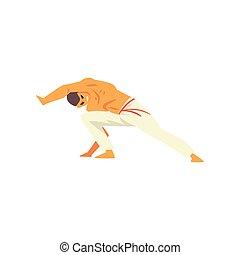 beweging, beoefenen, nationale, jonge, illustratie, krijgshaftig, capoeira, vector, braziliaans, kunst, man