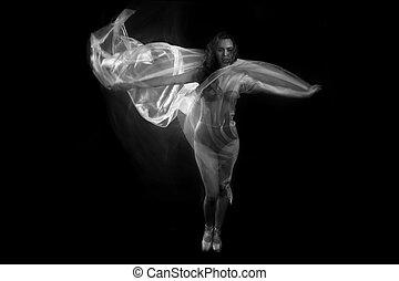 beweging, met, puur, weefsels, en, lange blootstelling