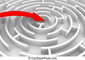 beweging, richting, om te, success., vrijstaand, 3d, beeld