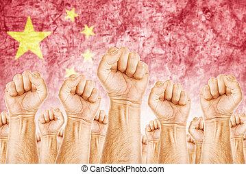 beweging, unie, werkmannen , arbeid, china, staking