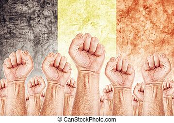 beweging, unie, werkmannen , staking, arbeid, belgie