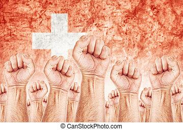 beweging, unie, werkmannen , staking, arbeid, zwitserland