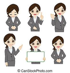 beweging, van, de, businesswoman