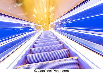 beweging, van, verminderen, hallway, roltrap