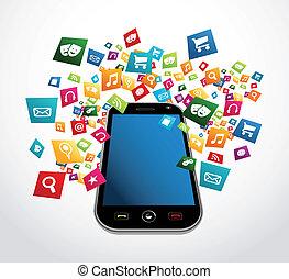 beweglich, anwendungen, smartphone