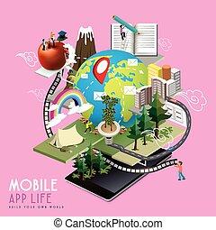 beweglich, app, begriff, leben