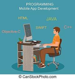 beweglich, app, entwicklung, begriff, vektor, abbildung