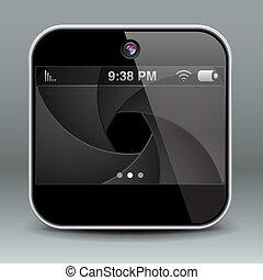 beweglich, app, telefon, fotoapperat, design, ikone