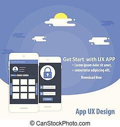 beweglich, app, ux, design, vektor, schablone, begriff