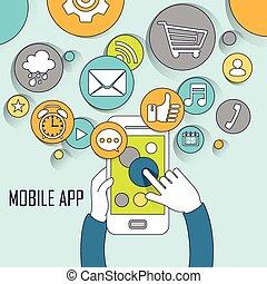 beweglich, apps, begriff, in, dünne linie, stil