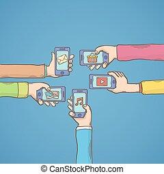 beweglich, apps, mit, hände