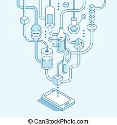 beweglich, entwicklung, app, vektor, begriff