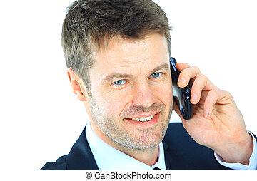 beweglich, freigestellt, sprechende , telefon., white., porträt, geschäftsmann, beiläufig