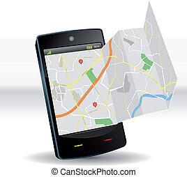beweglich, landkarte, vorrichtung, smartphone, straße