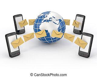 beweglich, nachrichten, sms, telefon, abstimmung, earth.
