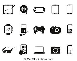beweglich, satz, schwarz, vorrichtungen & hilfsmittel, ikone