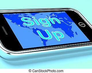 beweglich, schirm, registrierung, auf, zeichen, online,...