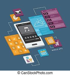 beweglich, schirme, telefon, infographic, design, schnittstelle