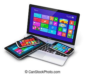 beweglich, schnittstelle, touchscreen, vorrichtungen &...