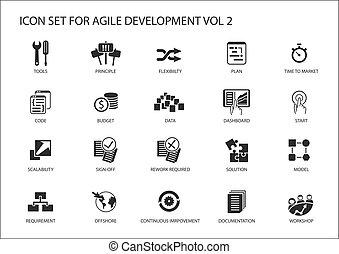 beweglich, software, entwicklung, vektor, ikone, satz