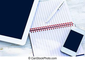 beweglich, tagebuch, telefon, tablette pc